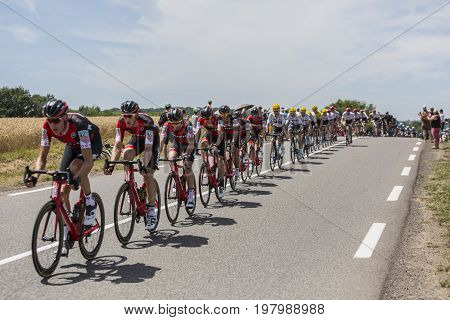 Mailleroncourt-Saint-Pancras France - July 5 2017: The BMC Racing Team riding in front of the peloton on a road to La Planche des Belle Filles during the stage 5 of Tour de France 2017.