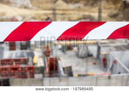 Barrier Red And White Tape