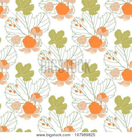 Seamless pattern with cloudberry and leaves. Vector illustration.