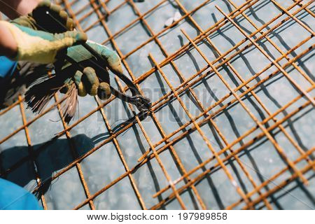 Worker Details - Rebar Steel Bars, Reinforcement Concrete Bars With Wire Rod Used In Foundation Of C