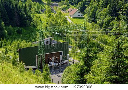 Electric Substation At Hydroelectric Power Station In Mountain