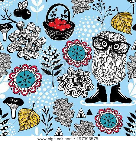 Blue seamless pattern with owl in eyeglasses.
