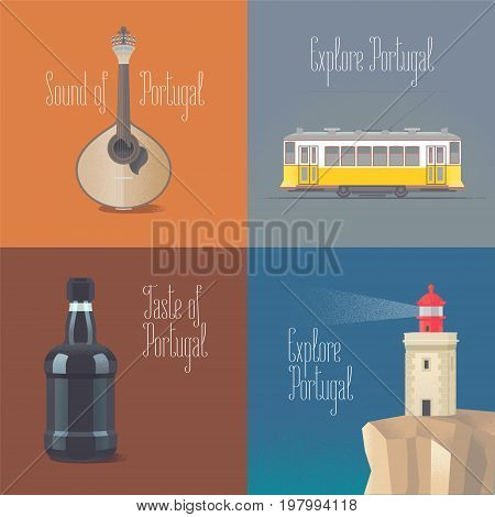 Travel to Portugal concept vector illustrations. Fado guitar old tramway in Lisboa porto wine. Cartoon style design for visit Portugal and Lisbon posters