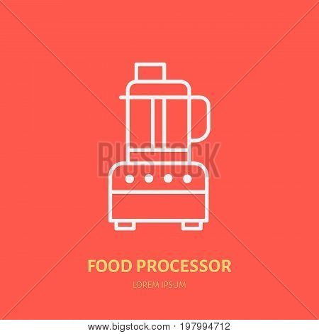 Food processor vector flat line icon. Cooking equipment linear logo. Outline symbol for household kitchen appliances shop.