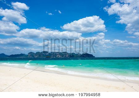 White sand beach of Andaman sea Krabi province Thailand