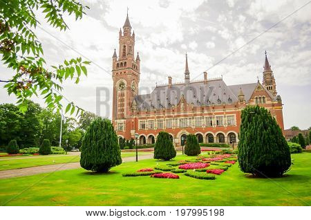 THE HAGUE, NETHERLANDS. July 19, 2017. The International Court of Justice in the Peace Palace in Hague. It is the international Supreme court for legal disputes between the states.