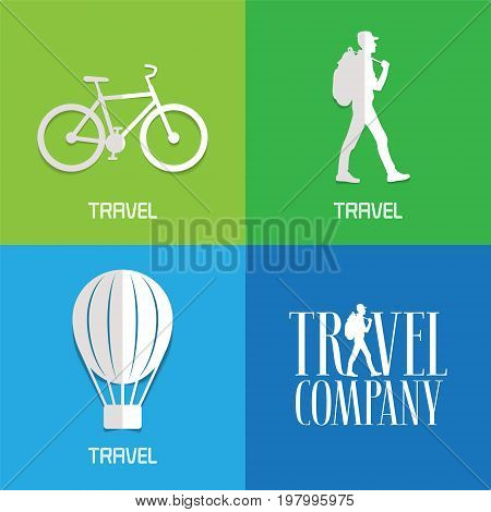 Vector illustration logos for travel services. Sports and adventures concept active traveling