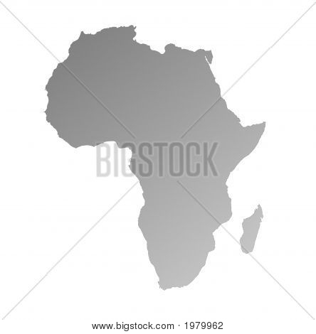 Detailed Gray Gradient Map Of Africa
