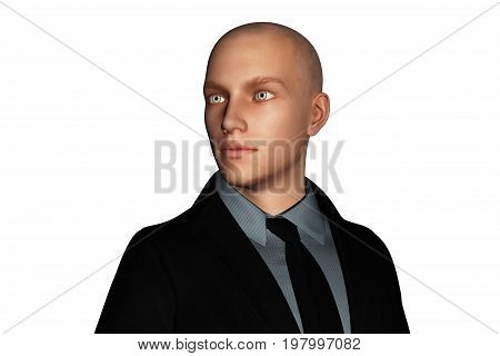 3d rendering of businessman looking sideways isolated on white background
