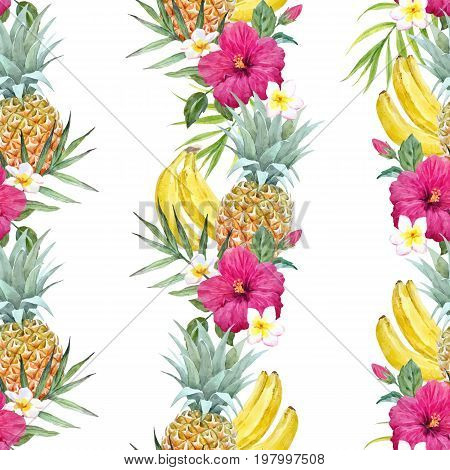 Beautiful vector seamless pattern with watercolor tropical fruits and flowers