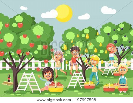 Stock vector illustration cartoon characters children boys and girls harvest ripe fruits autumn orchard garden from plum, pear, apple trees, put crop in full basket landscape scene outdoor flat style
