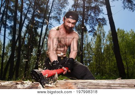 Lumberjack Worker Chopping Down A Tree In The Forest With Big Ax
