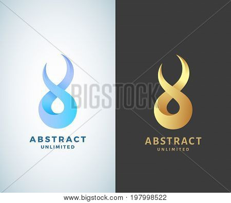 Abstract Vector Infinity Sign, Emblem or Logo Template. Golden on a Dark Background and Isolated Modern Gradient Versions.