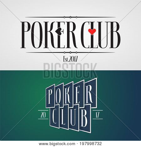 Set of poker casino vector icon logo. Design elements with playing cards and suits for poker club identity