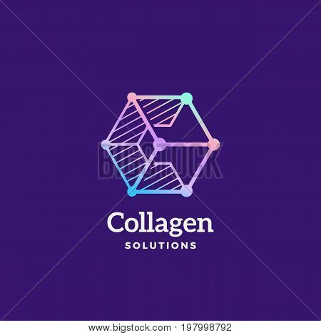 Collagen Solutions Abstract Vector Sign, Emblem or Logo Template. Letter C Incorporated in a Cube Geometry Symbol with Typography. On Dark Background.