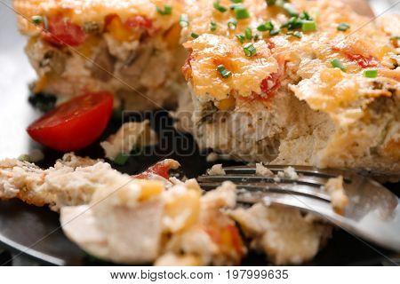 Plate with delicious turkey casserole, closeup