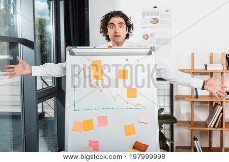 Shocked Businessman With Outstretched Arms Standing Near White Board In Office