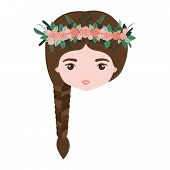 colorful caricature closeup front view face woman with braid hairstyle and crown decorate with flowers vector illustration poster