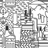 Beer mug, glass, tap, keg, bottle, malt, hops. Seamless pattern. Vector illustration. poster