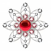 Brooch with ruby icon. Cartoon illustration of brooch with ruby vector icon for web design poster