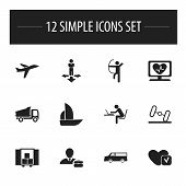Set Of 12 Editable Complicated Icons. Includes Symbols Such As Programmer, Heart Rhythm, Soul And More poster