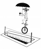 Equilibrist on unicycle rides on a rope over a pit of spikes poster