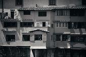 Ponte Vecchio closeup in Arno River BW in Florence Italy poster