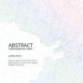 Vector poster design from lines contour topographic map. Abstract hills and different navigation elements. Geography topographic relief map, illustration of terrain topography poster