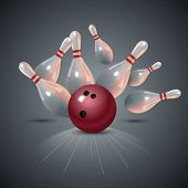 Realistic bowling strike concept on dark gray background. Bowling concept. Bowling strike with ball. Vector illustration. poster