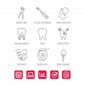 Tooth extraction, electric toothbrush icons. Dental implant, floss and dentinal tubules linear signs. Toothpaste icon. Report document, Graph chart and Calendar signs. Laptop and Check web icons poster