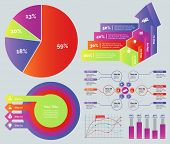 Marketing diagram set. Can be used for workflow layout, annual report, web design. Business concept. Percentage pie chart Process bar graph Concentric circles chart Flowchart Line graph Bar graph poster