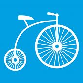 Penny-farthing icon white isolated on blue background vector illustration poster