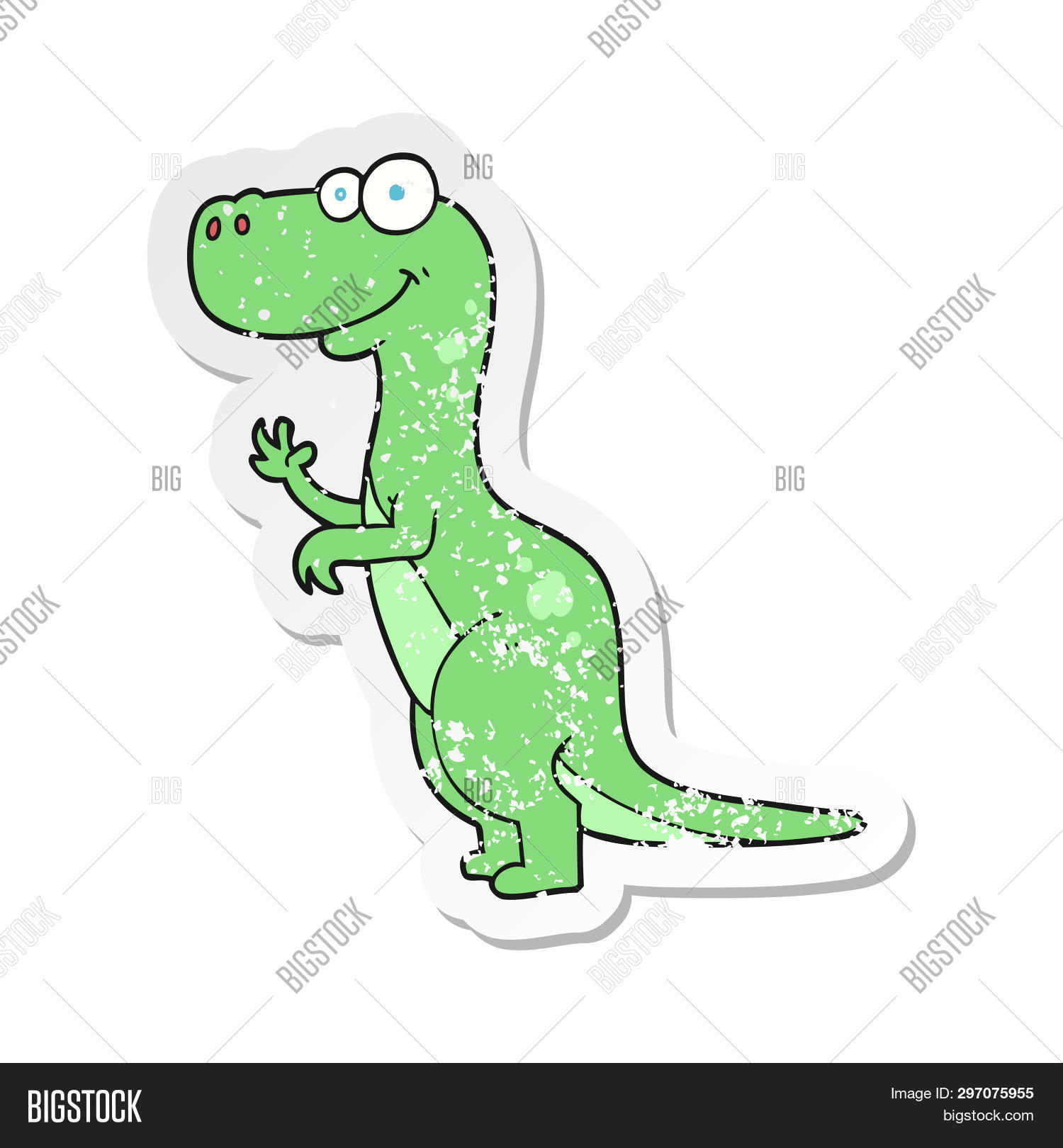 retro distressed sticker of a cartoon dinosaur