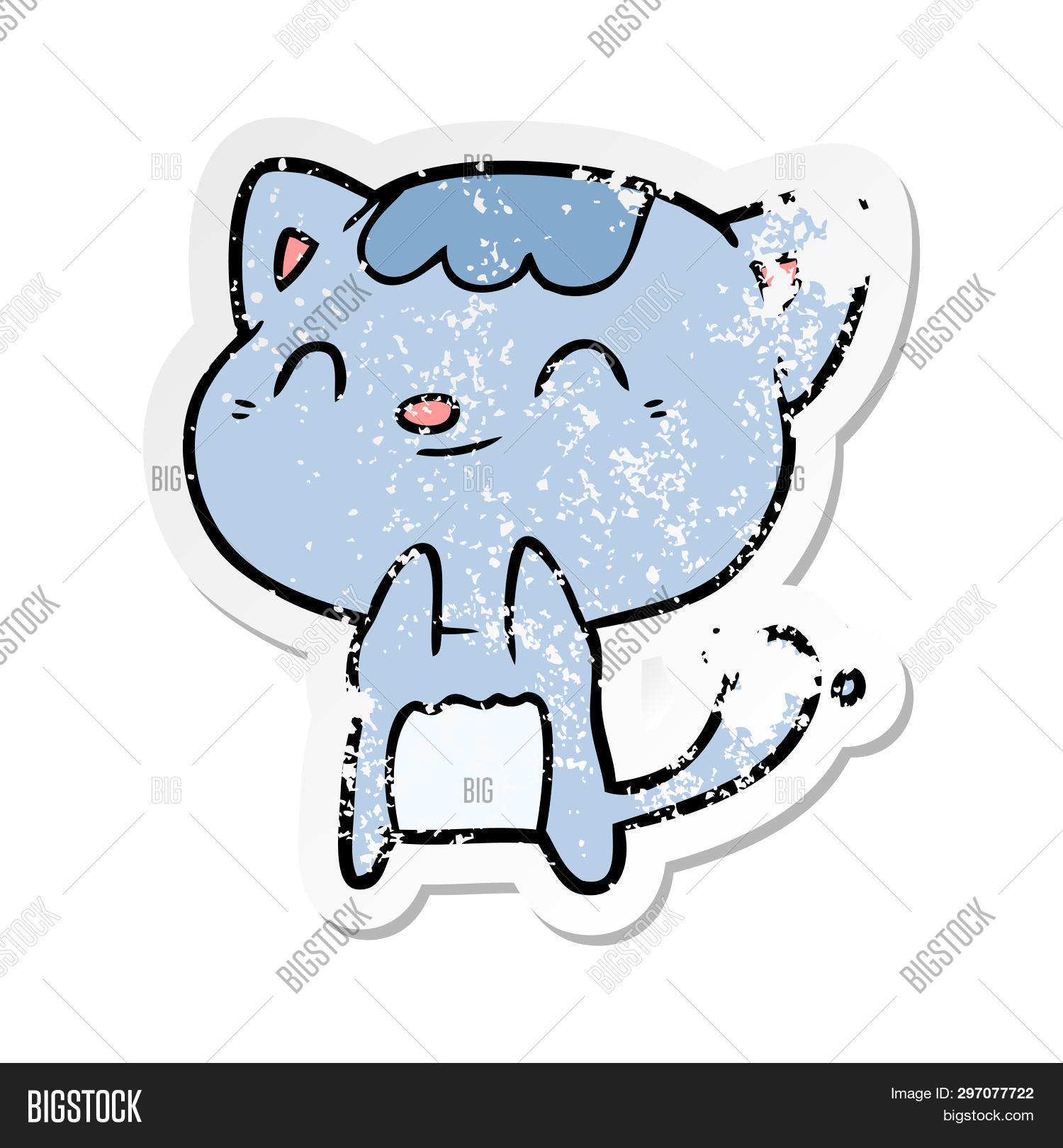 distressed sticker of a cartoon happy cat