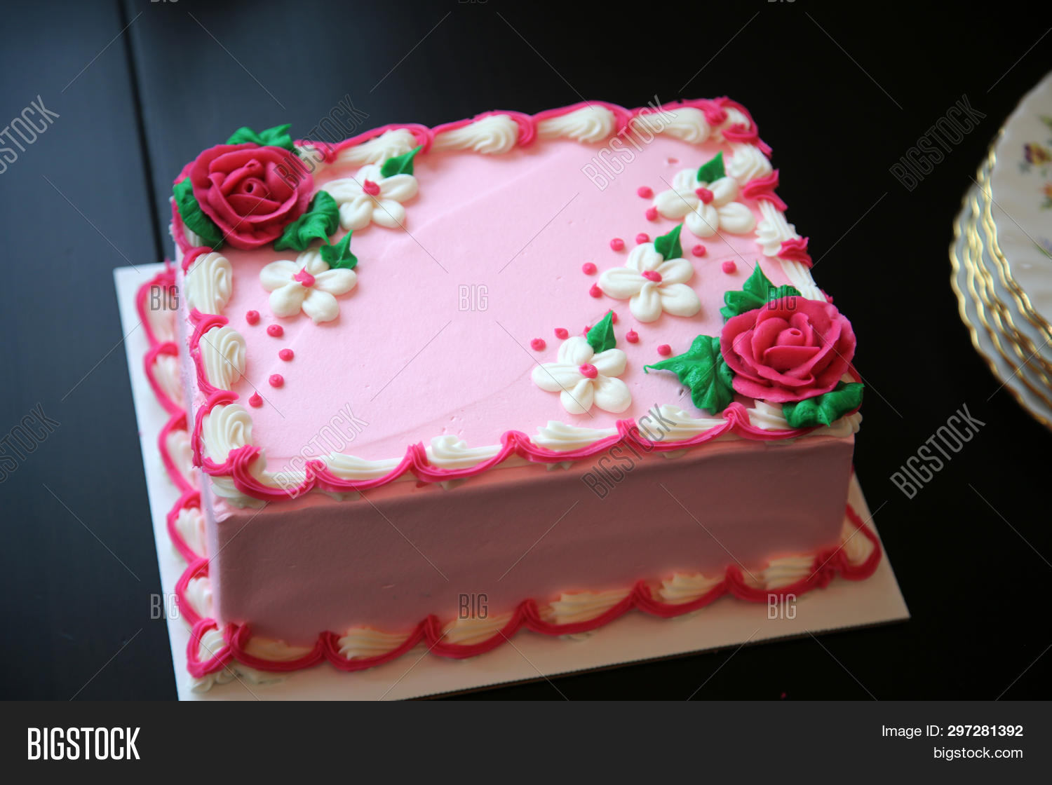 Birthday Cake Pink Ice Cream Blank With Room For Text Food