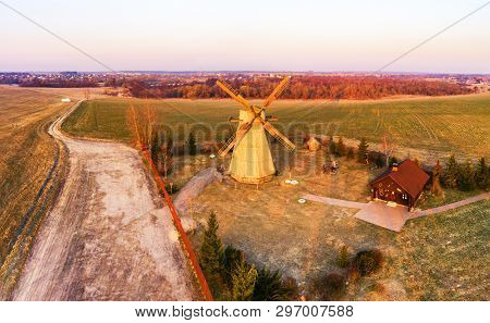 Traditional Windmill In Morning Light. Spring Sunrise