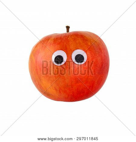 Googly Eyes. Funny Cute Red Ripe Apple With Toy Eyes, Isolated On White Background.