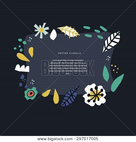 Floral Hand Drawn Frame Template With Text Space. Botanical Border Layout With Copyspace. Spring Hol