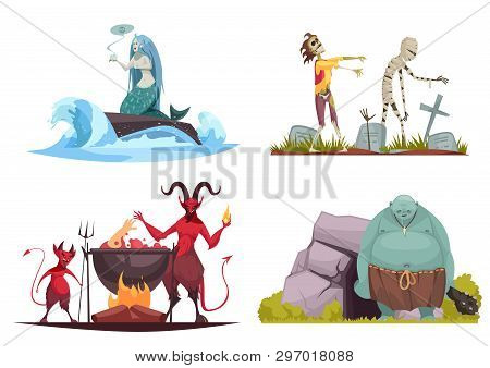 Evil Character Concept 4 Cartoon Compositions With Wicked Sea Witch Tricking Mermaid Haunted Cemeter