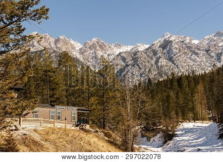 Fairmont Hot Springs, Canada - March 18, 2019: Spring Time In Resort Situated In Rocky Mountains Bri