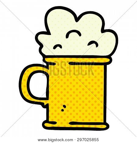 comic book style quirky cartoon tankard of beer poster