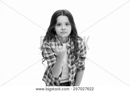 Threatening Violence. Stop Bullying Movement. Girl Kid Threatening With Fist. Strong Personality Tem