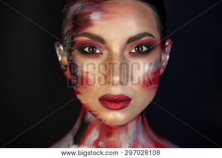 Portrait Of A Girl Of European Asian Appearance With Makeup