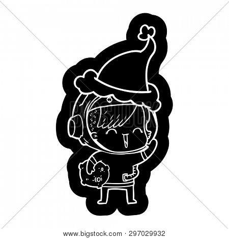 quirky cartoon icon of a happy spacegirl holding moon rock wearing santa hat