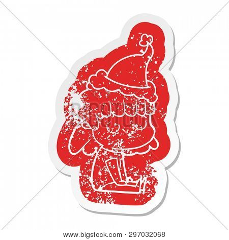 quirky cartoon distressed sticker of a indifferent woman wearing santa hat poster