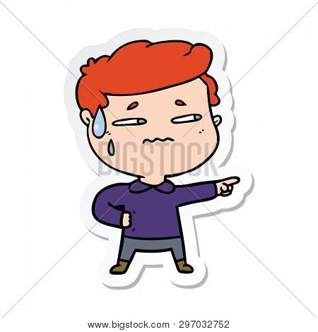 sticker of a cartoon anxious man pointing poster