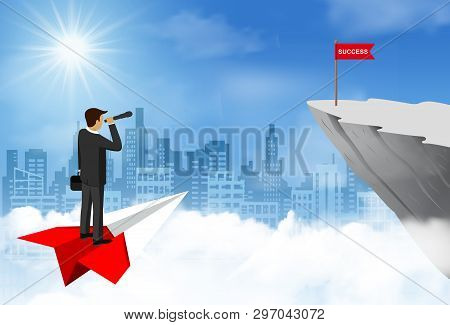 Businessman Standing Holding Binocular On Paper Airplane Go To Flag Red On Cliff Obstacle. Go To Goa