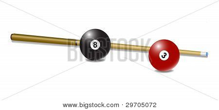 Pool (snooker) cue with a balls