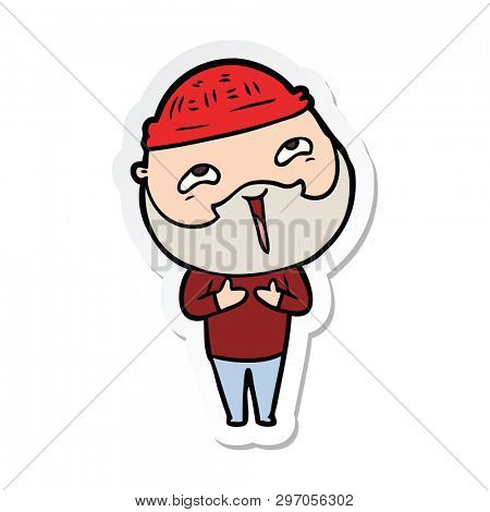 sticker of a cartoon happy bearded man