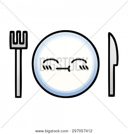 gradient shaded cartoon of a dinner plate
